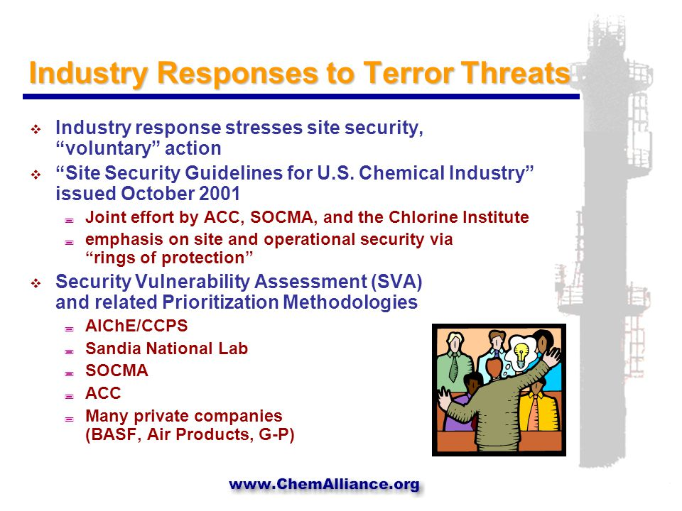 Different Threats, Common Threads  Short-term responses focus on plant security  Long-term responses are likely to have much in common with P2 strategies ; inherently safe chemical processing ; green chemistry ; process intensification  P2 programs can use heightened awareness of security issues to sell P2 ; cost-effective strategies for reducing risk ; simultaneous progress on parallel objectives
