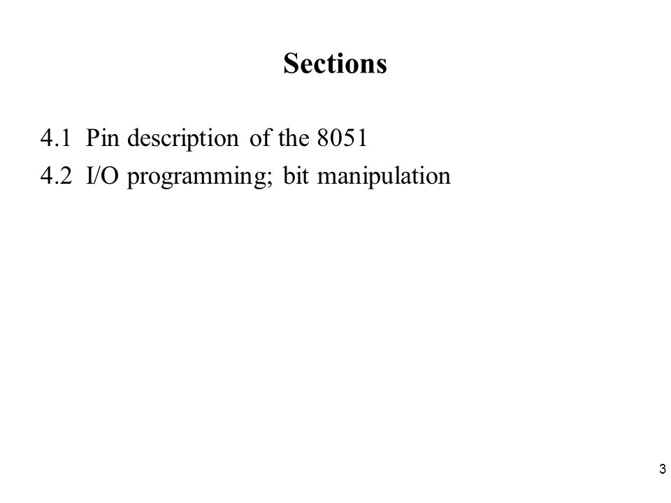 4 Section 4.1 Pin Description of the 8051