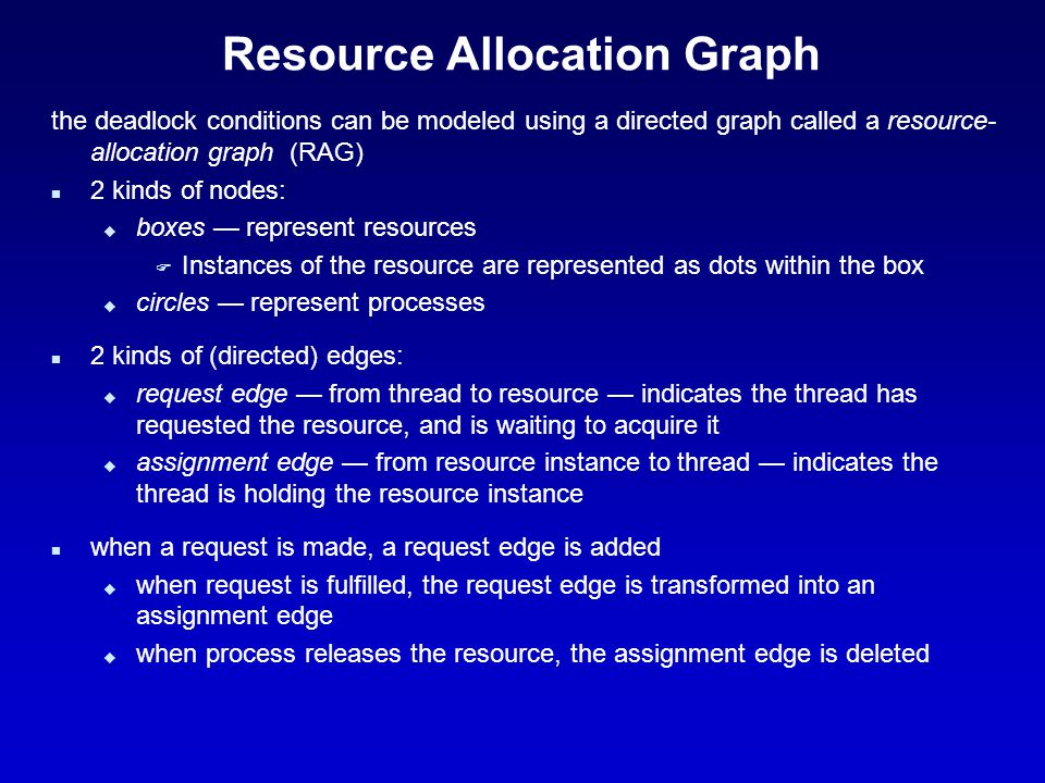 Resource Allocation Graph the deadlock conditions can be modeled using a directed graph called a resource- allocation graph (RAG) n 2 kinds of nodes: