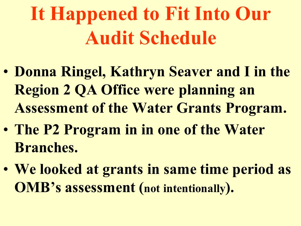 It Happened to Fit Into Our Audit Schedule Donna Ringel, Kathryn Seaver and I in the Region 2 QA Office were planning an Assessment of the Water Grants Program.