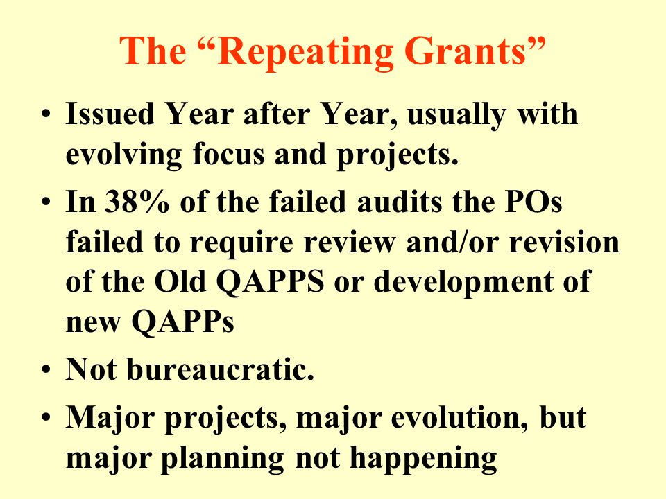 The Repeating Grants Issued Year after Year, usually with evolving focus and projects.