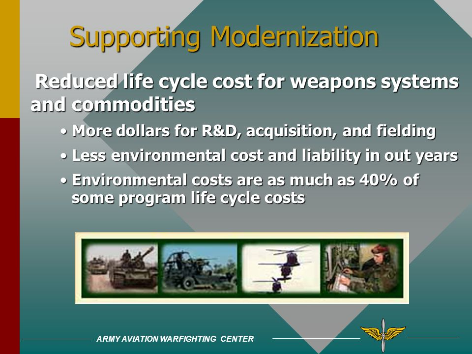 ARMY AVIATION WARFIGHTING CENTER Improving Quality of Life Improving Quality of Life Pollution ultimately affects our personal lives if it enters the