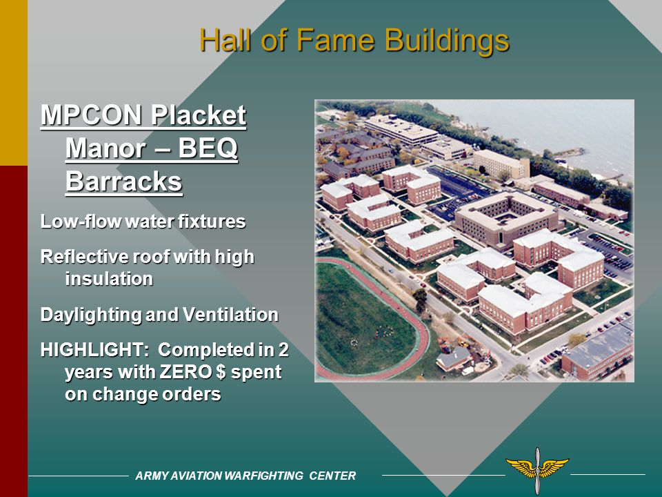 ARMY AVIATION WARFIGHTING CENTER Hall of Fame Buildings Hall of Fame Buildings J.J. Pickle Elementary Proper solar orientation Rainwater collection (1
