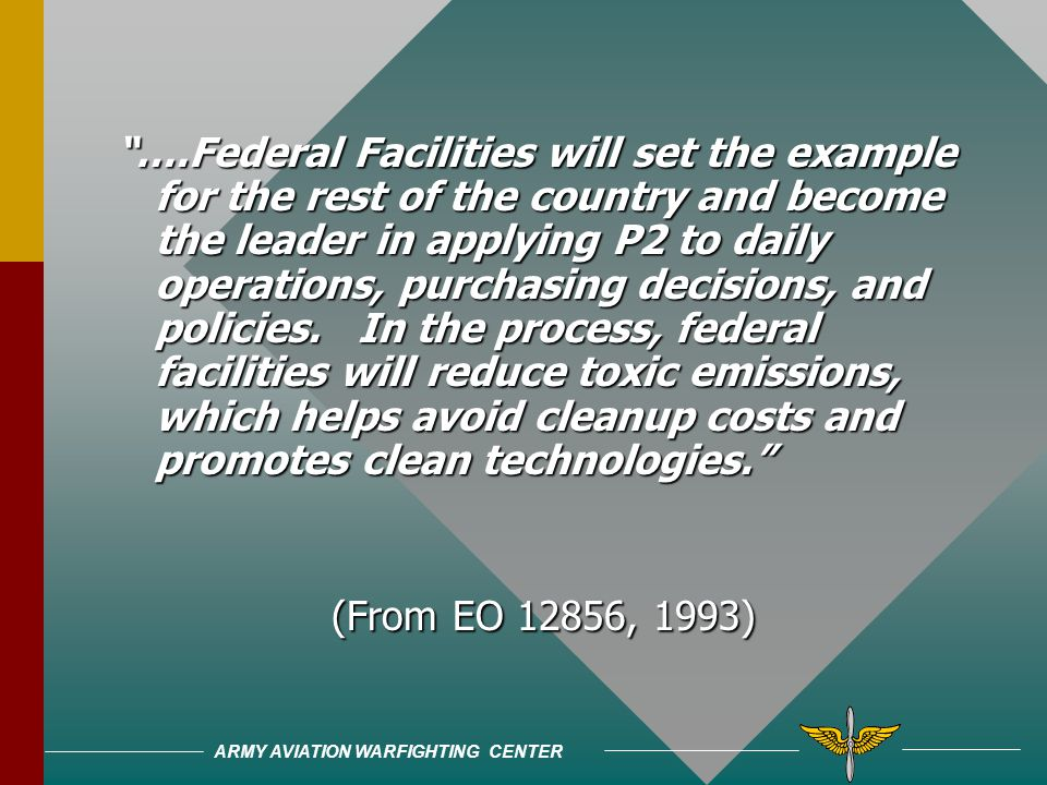 ARMY AVIATION WARFIGHTING CENTER 1993, Executive Order 128561993, Executive Order 12856 –Required federal facilities to comply with previous laws –Imp