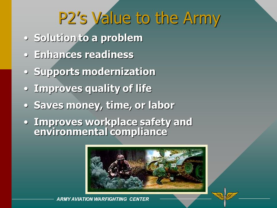 ARMY AVIATION WARFIGHTING CENTER First choice: Prevent or Reduce Pollution At Source When FeasibleFirst choice: Prevent or Reduce Pollution At Source