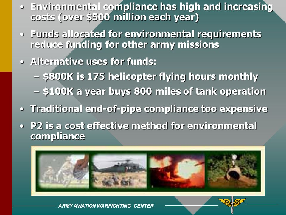 ARMY AVIATION WARFIGHTING CENTER Environmental compliance has high and increasing costs (over $500 million each year)Environmental compliance has high and increasing costs (over $500 million each year) Funds allocated for environmental requirements reduce funding for other army missionsFunds allocated for environmental requirements reduce funding for other army missions Alternative uses for funds:Alternative uses for funds: –$800K is 175 helicopter flying hours monthly –$100K a year buys 800 miles of tank operation Traditional end-of-pipe compliance too expensiveTraditional end-of-pipe compliance too expensive P2 is a cost effective method for environmental complianceP2 is a cost effective method for environmental compliance