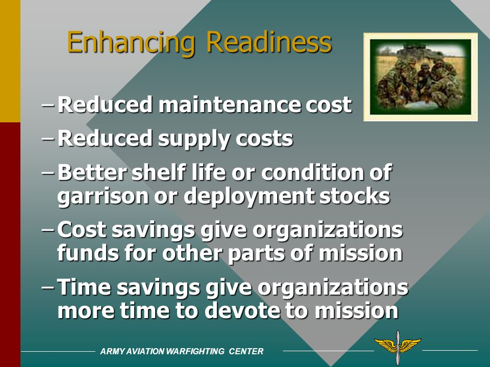 ARMY AVIATION WARFIGHTING CENTER Environmental compliance has high and increasing costs (over $500 million each year)Environmental compliance has high