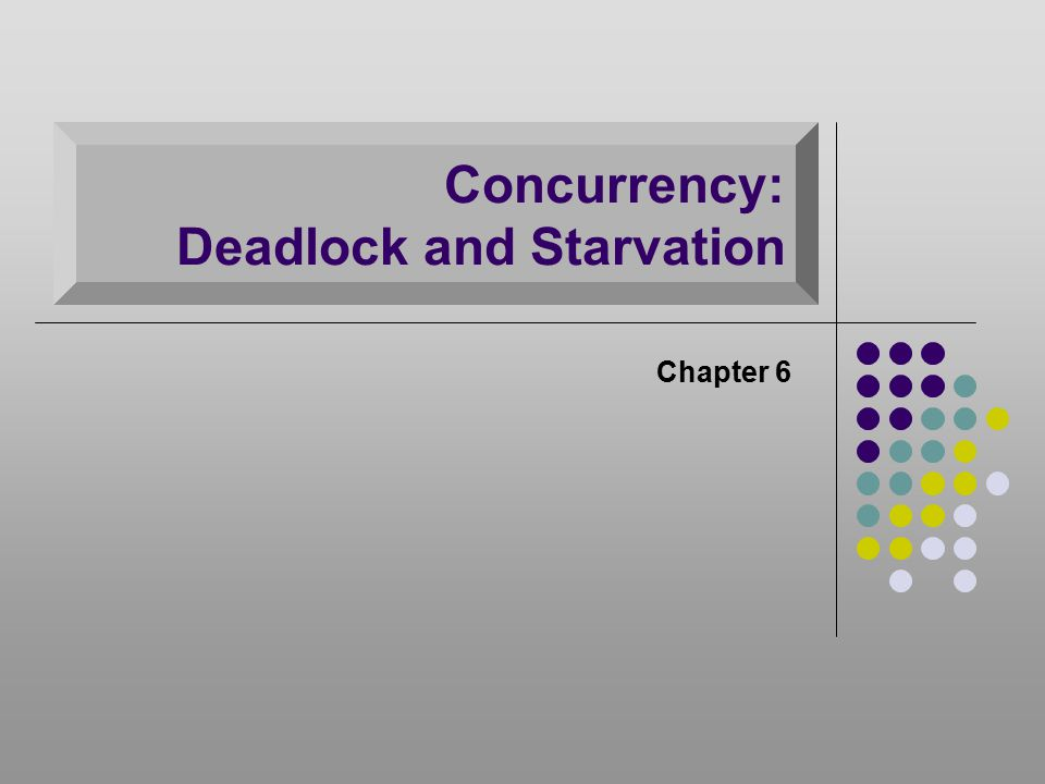 Deadlock Permanent blocking of a set of processes that either compete for system resources or communicate with each other Involve conflicting needs for resources by two or more processes No efficient solution