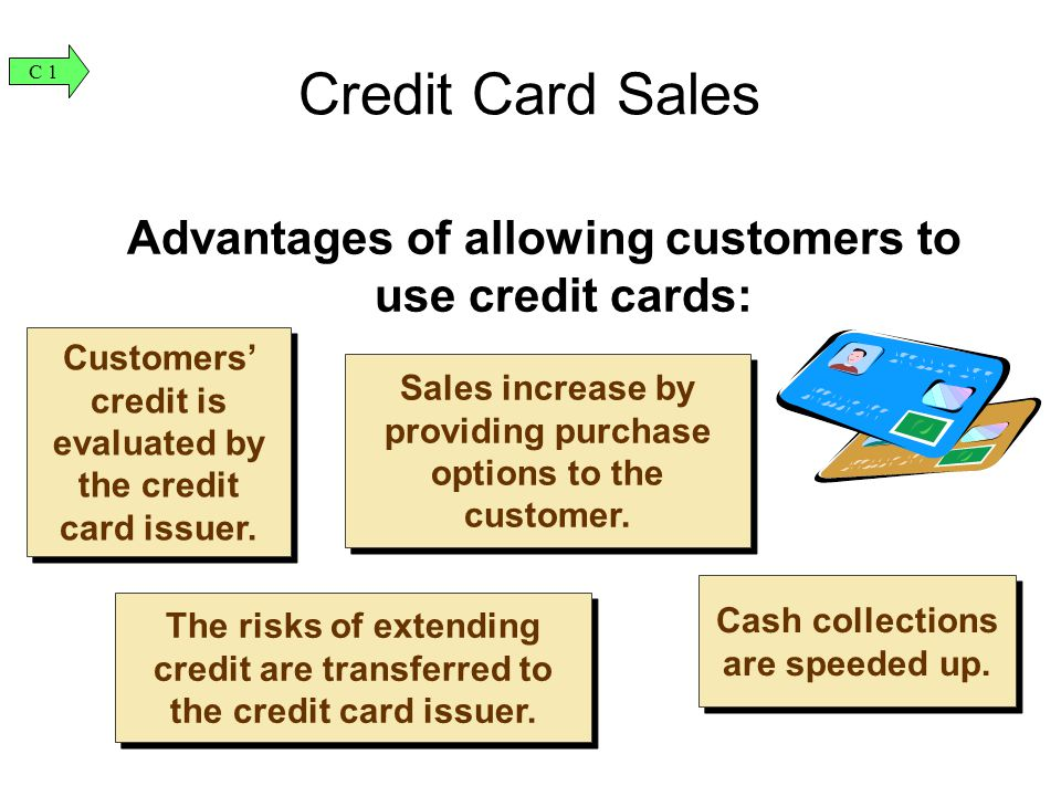 Advantages of allowing customers to use credit cards: Customers' credit is evaluated by the credit card issuer.