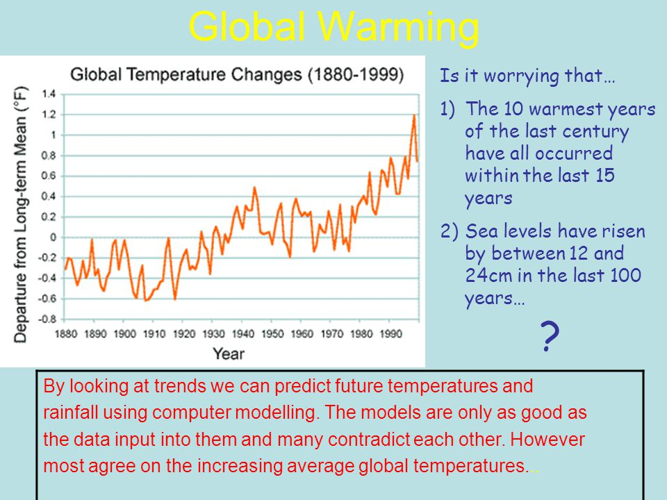 Global Warming Is it worrying that… 1)The 10 warmest years of the last century have all occurred within the last 15 years 2)Sea levels have risen by between 12 and 24cm in the last 100 years… By looking at trends we can predict future temperatures and rainfall using computer modelling.