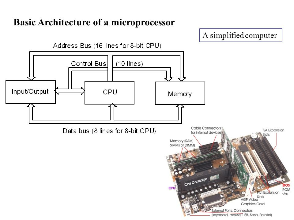 Basic Architecture of a microprocessor A simplified computer