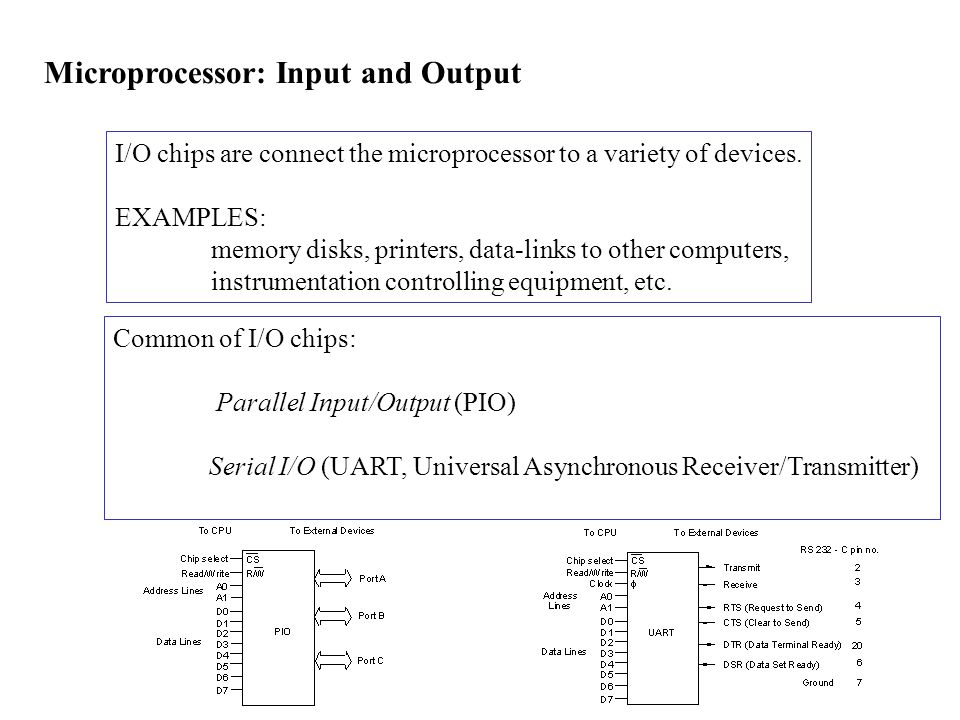 Microprocessor: Input and Output I/O chips are connect the microprocessor to a variety of devices.