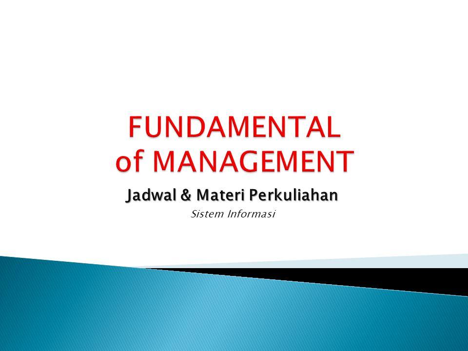 Jadwal & Materi Perkuliahan Sistem Informasi