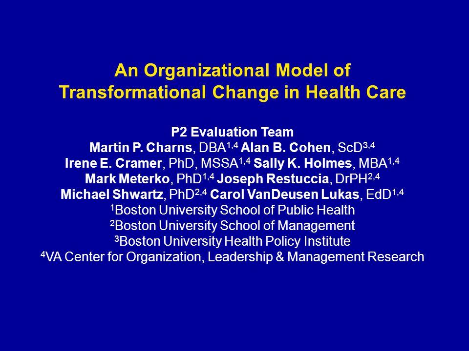 An Organizational Model of Transformational Change in Health Care P2 Evaluation Team Martin P. Charns, DBA 1,4 Alan B. Cohen, ScD 3,4 Irene E. Cramer,