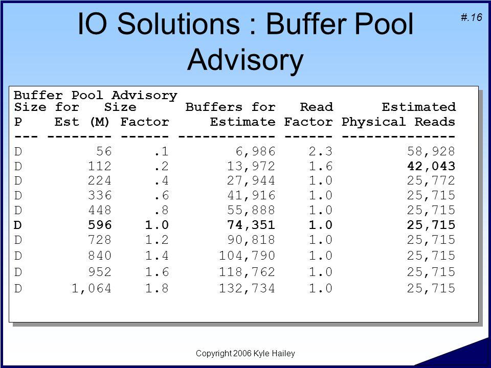#.16 Copyright 2006 Kyle Hailey IO Solutions : Buffer Pool Advisory Buffer Pool Advisory Size for Size Buffers for Read Estimated P Est (M) Factor Est