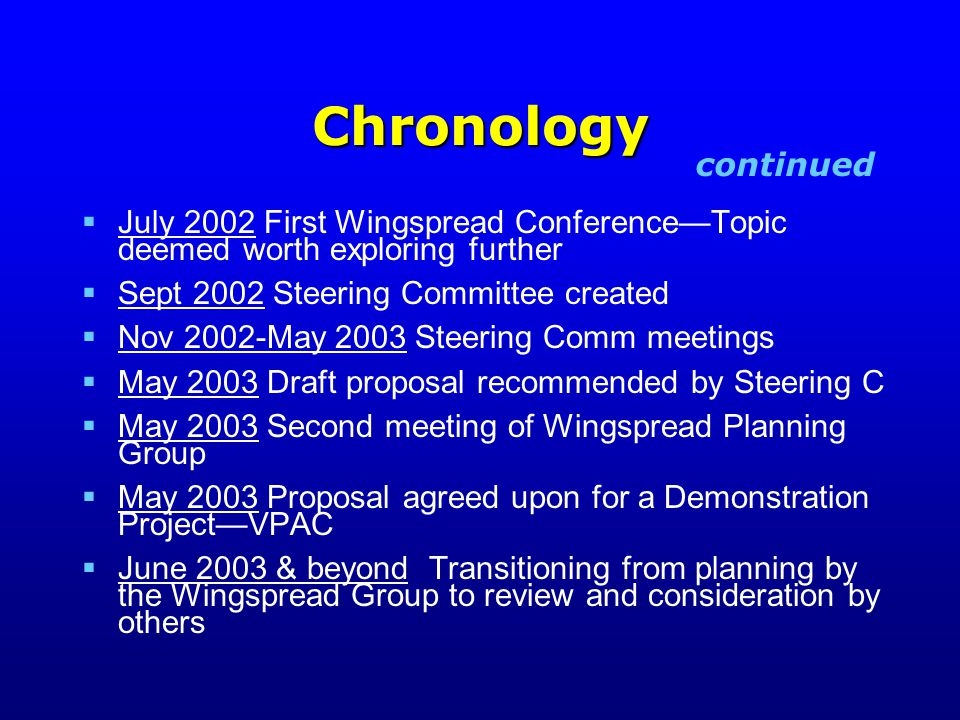 Chronology  July 2002 First Wingspread Conference—Topic deemed worth exploring further  Sept 2002 Steering Committee created  Nov 2002-May 2003 Steering Comm meetings  May 2003 Draft proposal recommended by Steering C  May 2003 Second meeting of Wingspread Planning Group  May 2003 Proposal agreed upon for a Demonstration Project—VPAC  June 2003 & beyond Transitioning from planning by the Wingspread Group to review and consideration by others continued