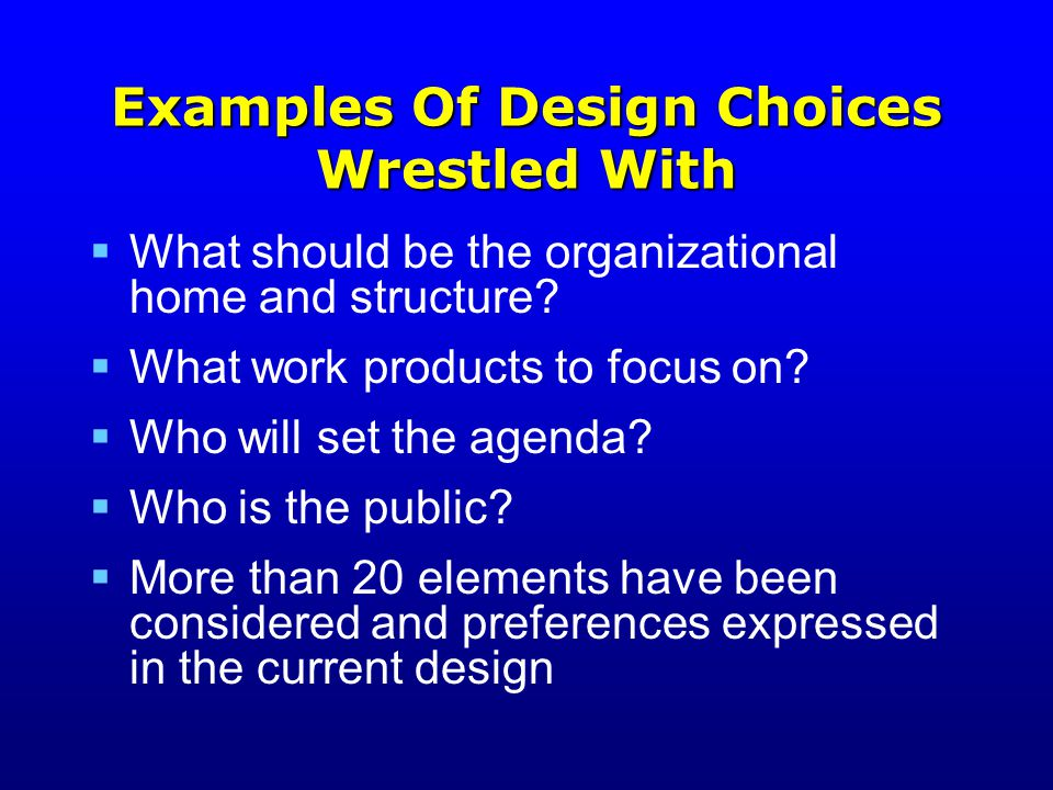 Examples Of Design Choices Wrestled With  What should be the organizational home and structure.