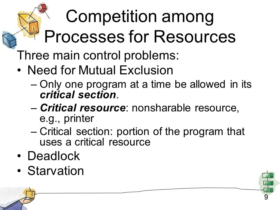 9 Competition among Processes for Resources Three main control problems: Need for Mutual Exclusion –Only one program at a time be allowed in its critical section.