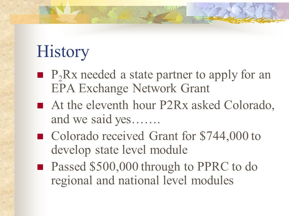 National P2 Results Task Force Joint Project: NPPR & P2Rx Joint Project: NPPR & P2Rx Includes representatives of states in every EPA Region, P2Rx Centers, EPA HQs & Regional Offices Includes representatives of states in every EPA Region, P2Rx Centers, EPA HQs & Regional Offices Has been meeting for over 3 years Has been meeting for over 3 years Focused on developing core national P2 measures, data aggregation tool, & report on the results Focused on developing core national P2 measures, data aggregation tool, & report on the results