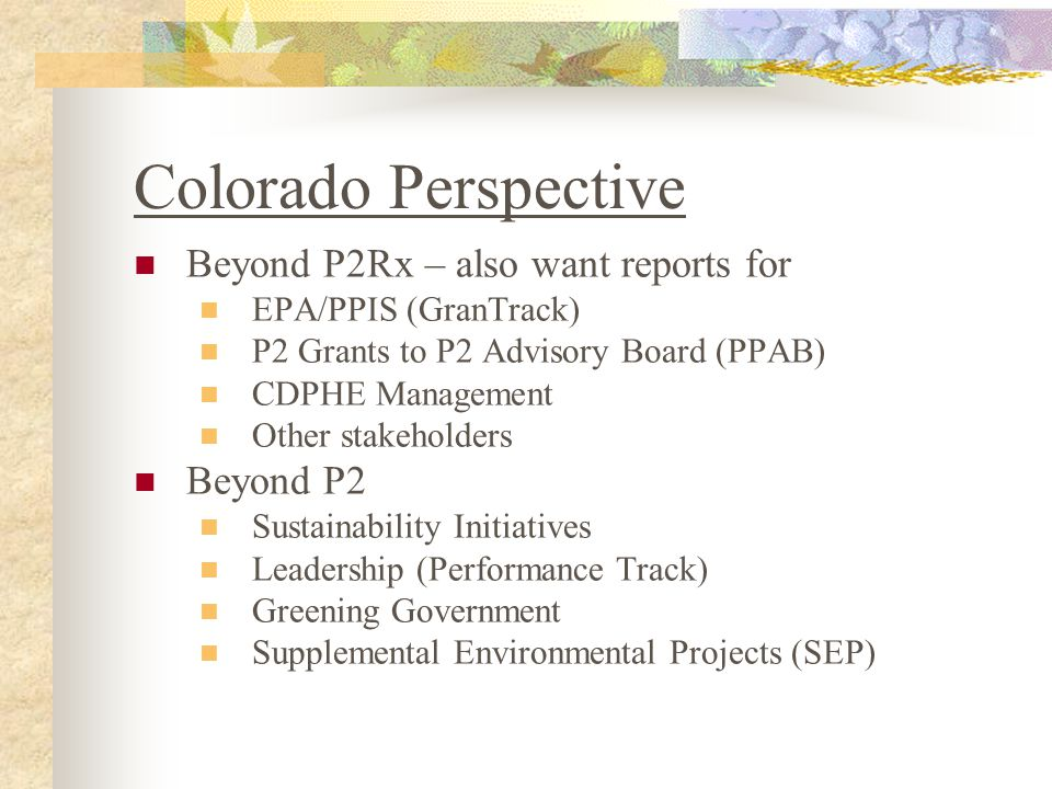 Data Structure Initiative Level (Greening Government) Project Level (a state agency (CDPHE, CDOT, etc.) Subproject Level (various tasks at that agency like CDPHE) Metrics Level (activities, outputs, outcomes)