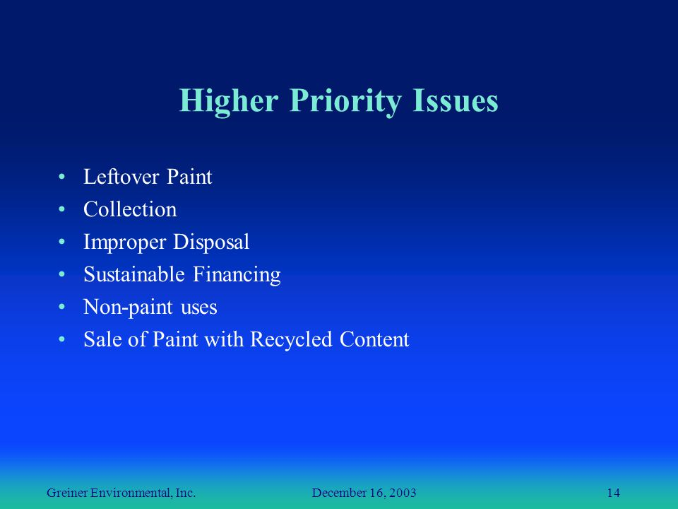 Greiner Environmental, Inc. December 16, 200314 Higher Priority Issues Leftover Paint Collection Improper Disposal Sustainable Financing Non-paint use