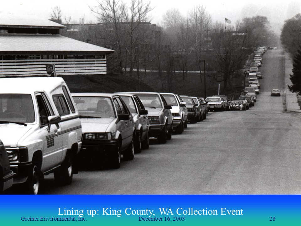 Greiner Environmental, Inc. December 16, 200328 Lining up: King County, WA Collection Event