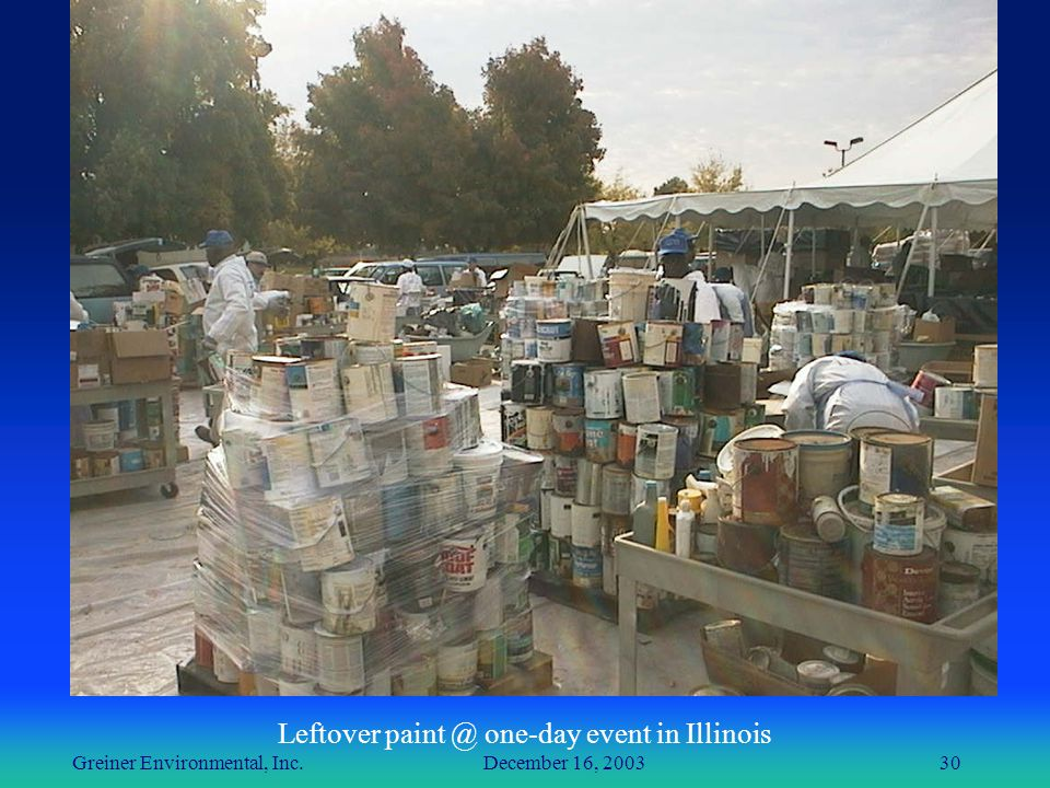Greiner Environmental, Inc. December 16, 200330 Leftover paint @ one-day event in Illinois
