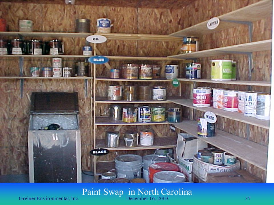 Greiner Environmental, Inc. December 16, 200337 Paint Swap in North Carolina