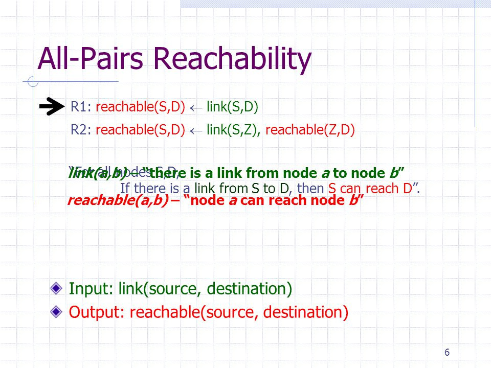 6 All-Pairs Reachability R2: reachable(S,D)  link(S,Z), reachable(Z,D) R1: reachable(S,D)  link(S,D) Input: link(source, destination) Output: reachable(source, destination) For all nodes S,D, If there is a link from S to D, then S can reach D .