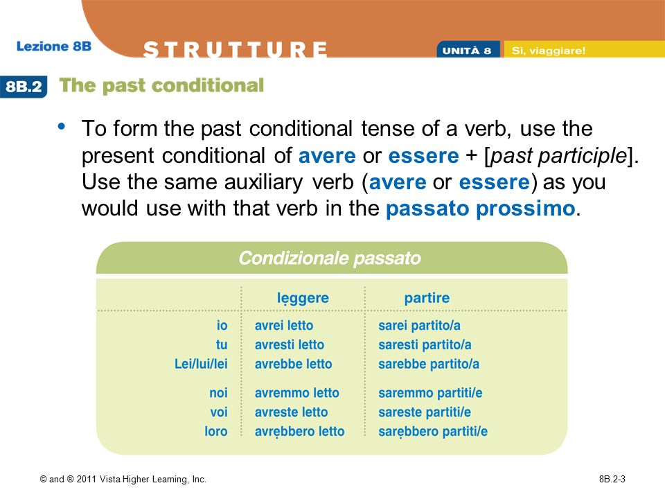 © and ® 2011 Vista Higher Learning, Inc.8B.2-3 To form the past conditional tense of a verb, use the present conditional of avere or essere + [past pa