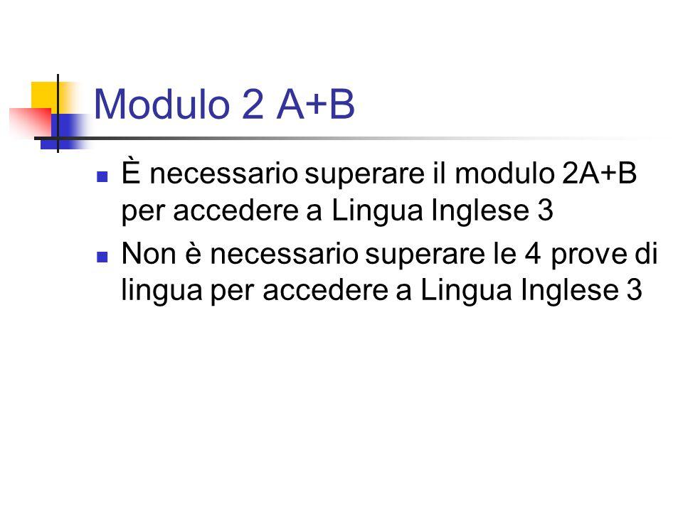 Modulo 2 A+B È necessario superare il modulo 2A+B per accedere a Lingua Inglese 3 Non è necessario superare le 4 prove di lingua per accedere a Lingua Inglese 3