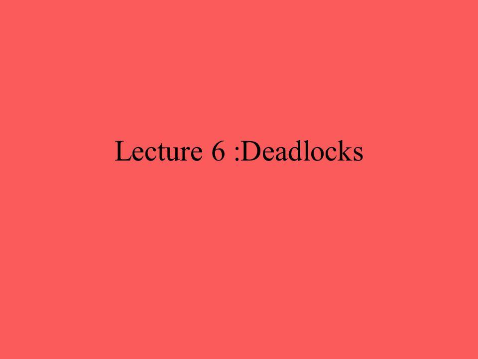 Lecture 6 :Deadlocks