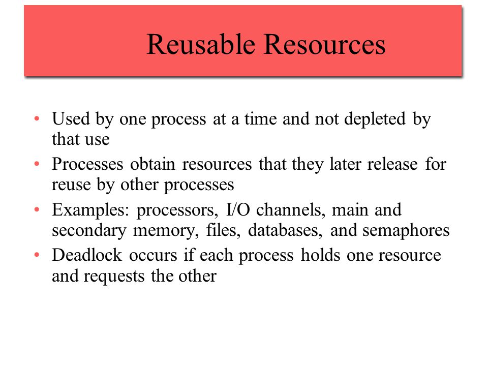 Reusable Resources Used by one process at a time and not depleted by that use Processes obtain resources that they later release for reuse by other processes Examples: processors, I/O channels, main and secondary memory, files, databases, and semaphores Deadlock occurs if each process holds one resource and requests the other