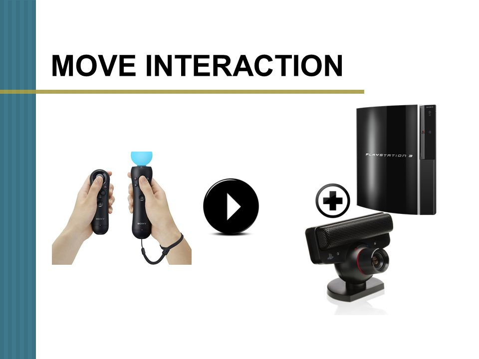 MOVE COMPONENTS Eye Toy is a webcam that elaborates the filmed images and permits the interaction in the videogames through movements. PlayStation Eye