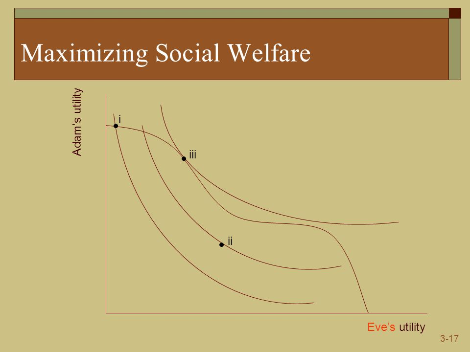 3-17 Maximizing Social Welfare Eve's utility Adam's utility i ii iii