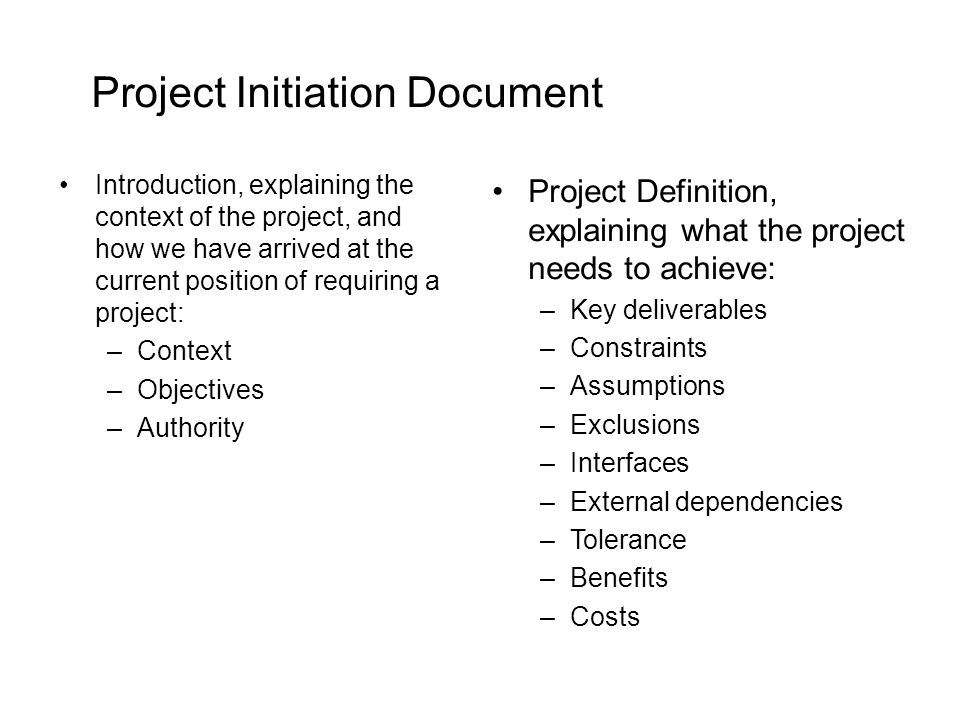 Project Initiation Document Introduction, explaining the context of the project, and how we have arrived at the current position of requiring a projec