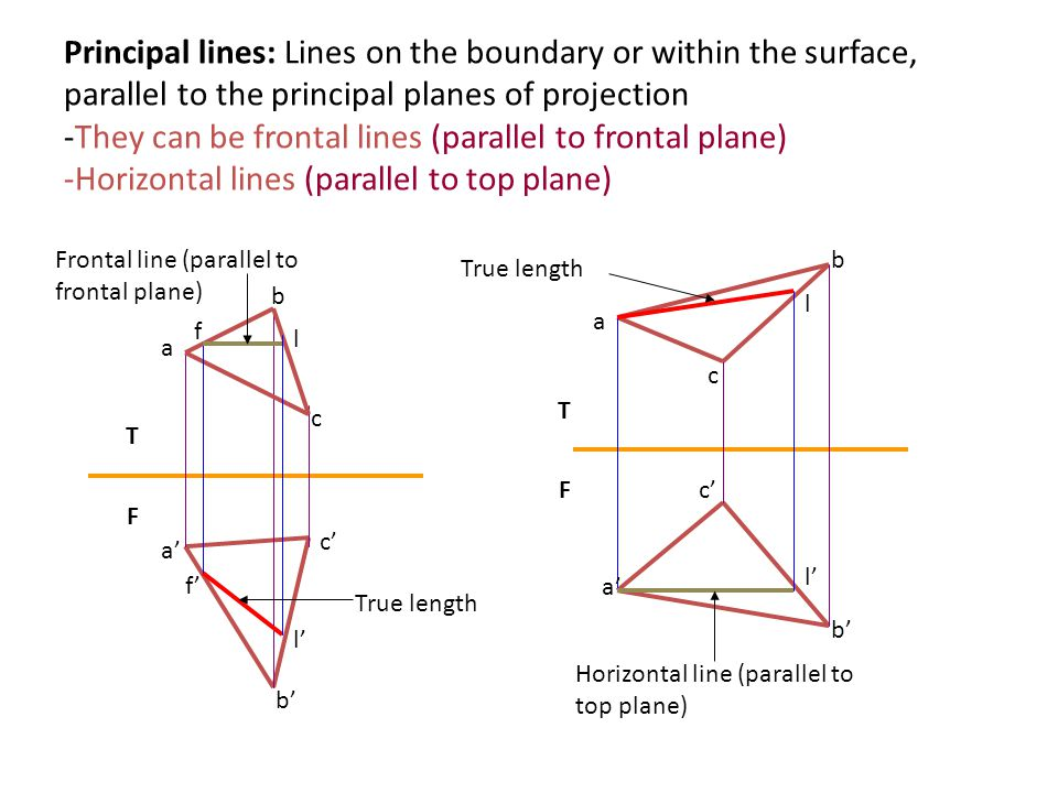 Frontal line (parallel to frontal plane) Principal lines: Lines on the boundary or within the surface, parallel to the principal planes of projection