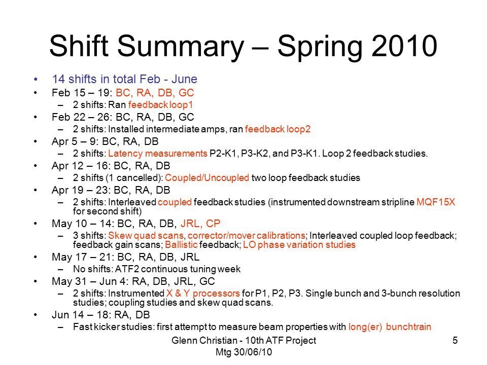 Glenn Christian - 10th ATF Project Mtg 30/06/10 5 Shift Summary – Spring 2010 14 shifts in total Feb - June Feb 15 – 19: BC, RA, DB, GC –2 shifts: Ran feedback loop1 Feb 22 – 26: BC, RA, DB, GC –2 shifts: Installed intermediate amps, ran feedback loop2 Apr 5 – 9: BC, RA, DB –2 shifts: Latency measurements P2-K1, P3-K2, and P3-K1.