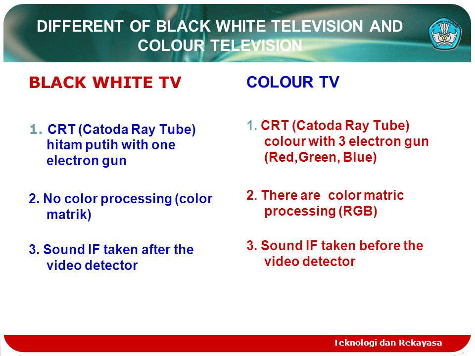 Teknologi dan Rekayasa DIFFERENT OF BLACK WHITE TELEVISION AND COLOUR TELEVISION BLACK WHITE TV 1.