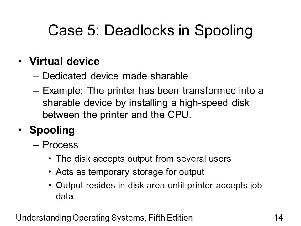 Understanding Operating Systems, Fifth Edition14 Case 5: Deadlocks in Spooling Virtual device –Dedicated device made sharable –Example: The printer has been transformed into a sharable device by installing a high-speed disk between the printer and the CPU.