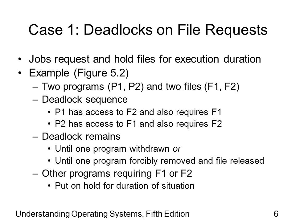 Understanding Operating Systems, Fifth Edition47 Strategies for Handling Deadlocks (continued) Recovery –Deadlock untangled once detected –System returns to normal quickly All recovery algorithms require at least one victim (an expendable job) Recovery methods –Terminate every job active in system Restart all jobs from beginning –Terminate only jobs involved in deadlock Ask users to resubmit jobs –Identify jobs involved in deadlock Terminate jobs one at a time, checking to see if the deadlock is broken after each removal, until the deadlock is resolved.