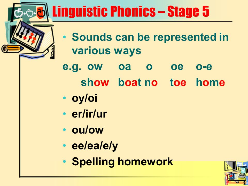 Linguistic Phonics – Stage 5 Sounds can be represented in various ways e.g.ow oa o oe o-e show boat no toe home oy/oi er/ir/ur ou/ow ee/ea/e/y Spellin