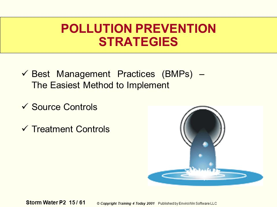 Storm Water P2 15 / 61 © Copyright Training 4 Today 2001 Published by EnviroWin Software LLC POLLUTION PREVENTION STRATEGIES Best Management Practices (BMPs) – The Easiest Method to Implement Source Controls Treatment Controls