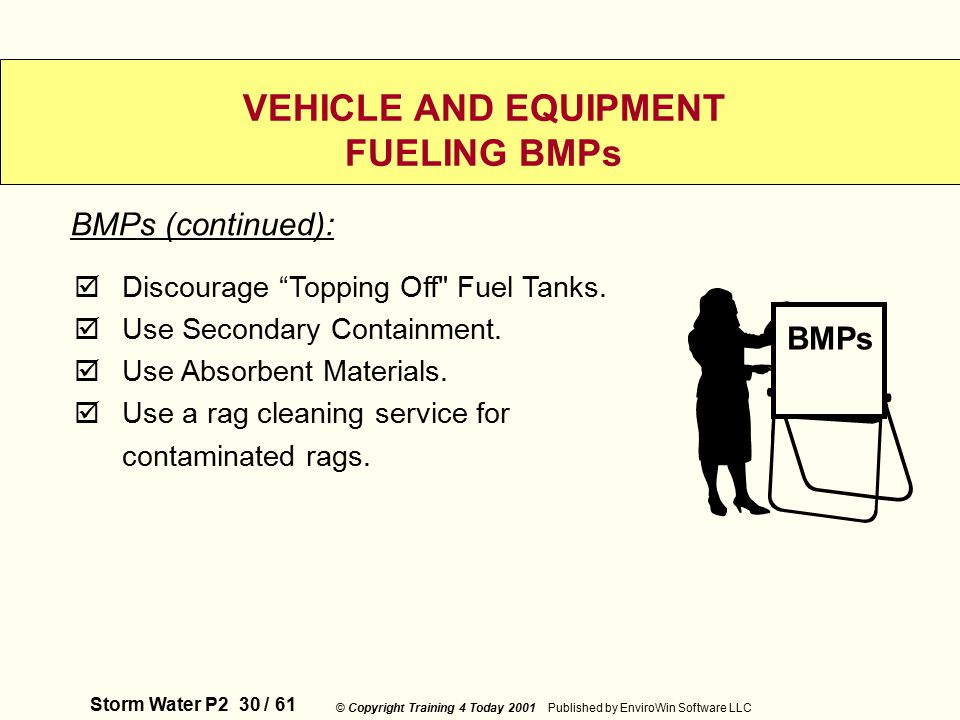 Storm Water P2 30 / 61 © Copyright Training 4 Today 2001 Published by EnviroWin Software LLC VEHICLE AND EQUIPMENT FUELING BMPs  Discourage Topping Off Fuel Tanks.
