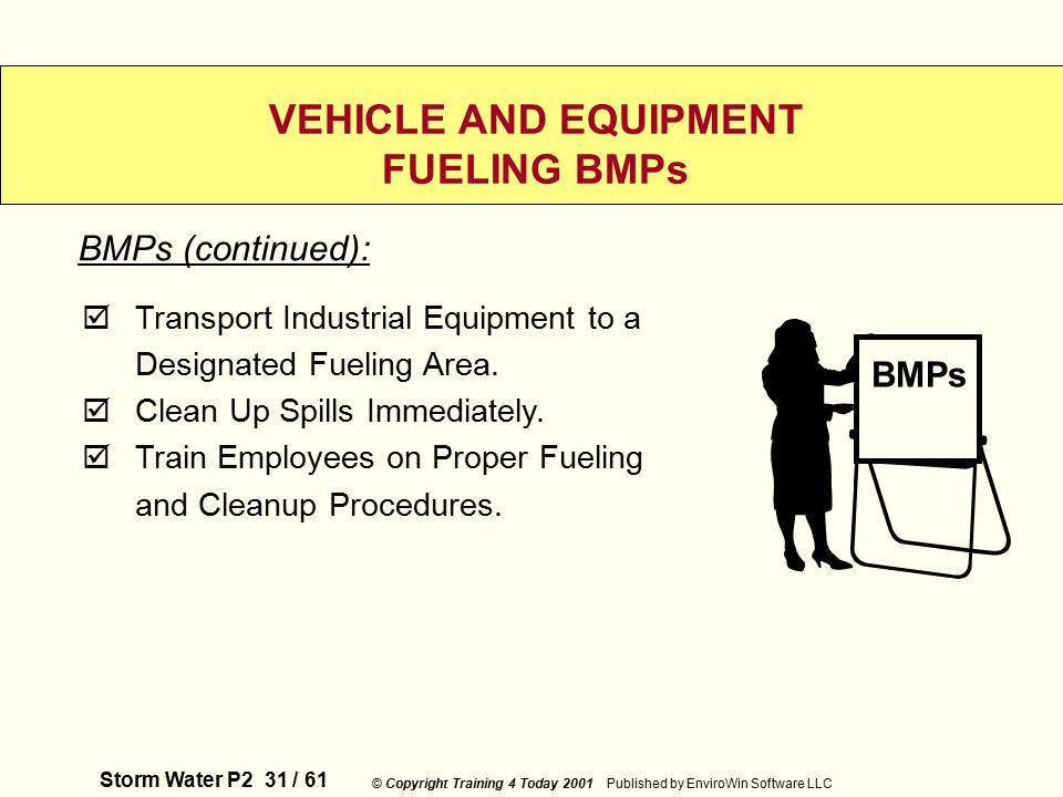 Storm Water P2 31 / 61 © Copyright Training 4 Today 2001 Published by EnviroWin Software LLC VEHICLE AND EQUIPMENT FUELING BMPs  Transport Industrial Equipment to a Designated Fueling Area.