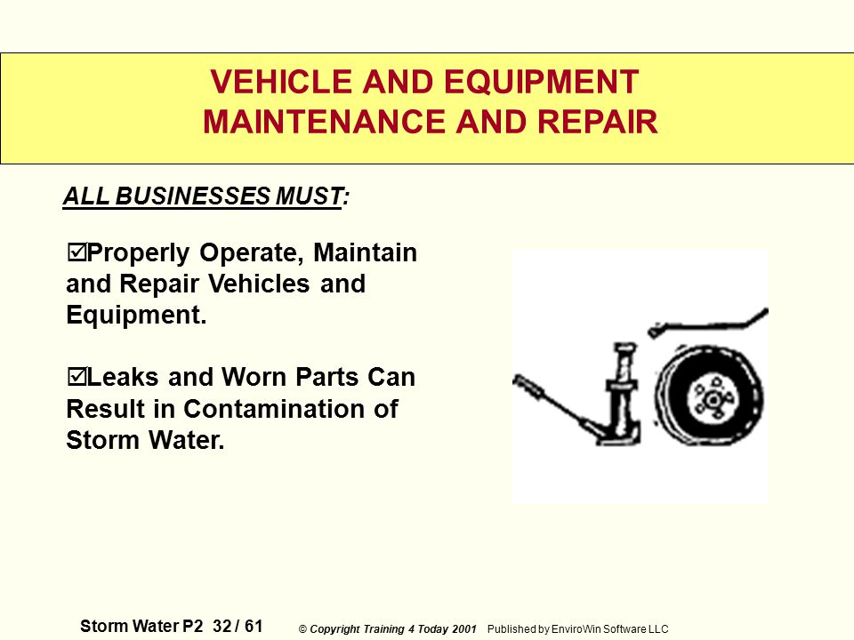 Storm Water P2 32 / 61 © Copyright Training 4 Today 2001 Published by EnviroWin Software LLC VEHICLE AND EQUIPMENT MAINTENANCE AND REPAIR  Properly Operate, Maintain and Repair Vehicles and Equipment.