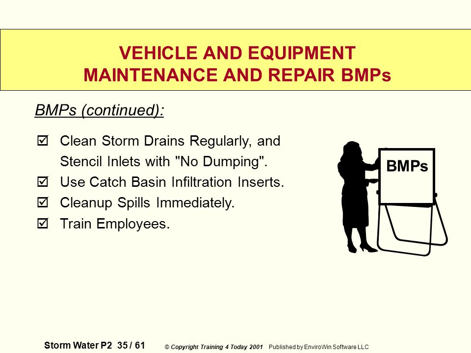 Storm Water P2 35 / 61 © Copyright Training 4 Today 2001 Published by EnviroWin Software LLC VEHICLE AND EQUIPMENT MAINTENANCE AND REPAIR BMPs  Clean Storm Drains Regularly, and Stencil Inlets with No Dumping .