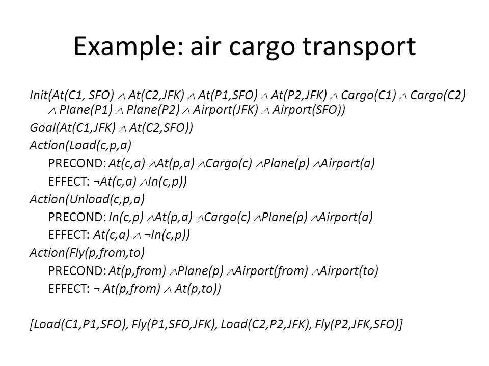 Example: air cargo transport Init(At(C1, SFO)  At(C2,JFK)  At(P1,SFO)  At(P2,JFK)  Cargo(C1)  Cargo(C2)  Plane(P1)  Plane(P2)  Airport(JFK)  Airport(SFO)) Goal(At(C1,JFK)  At(C2,SFO)) Action(Load(c,p,a) PRECOND: At(c,a)  At(p,a)  Cargo(c)  Plane(p)  Airport(a) EFFECT: ¬At(c,a)  In(c,p)) Action(Unload(c,p,a) PRECOND: In(c,p)  At(p,a)  Cargo(c)  Plane(p)  Airport(a) EFFECT: At(c,a)  ¬In(c,p)) Action(Fly(p,from,to) PRECOND: At(p,from)  Plane(p)  Airport(from)  Airport(to) EFFECT: ¬ At(p,from)  At(p,to)) [Load(C1,P1,SFO), Fly(P1,SFO,JFK), Load(C2,P2,JFK), Fly(P2,JFK,SFO)]