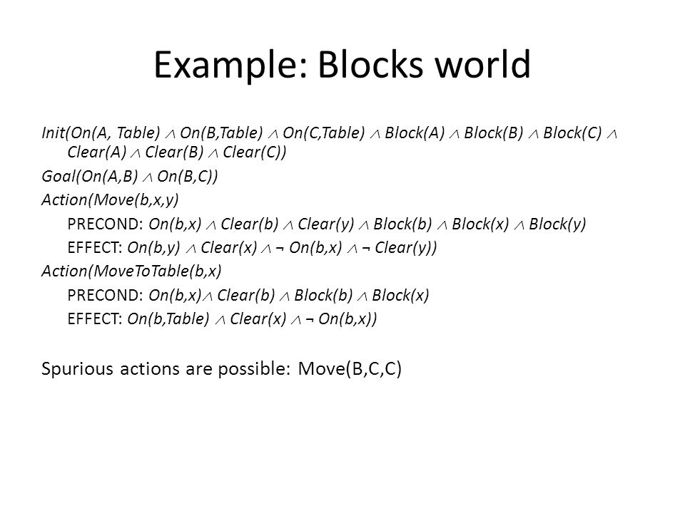Example: Blocks world Init(On(A, Table)  On(B,Table)  On(C,Table)  Block(A)  Block(B)  Block(C)  Clear(A)  Clear(B)  Clear(C)) Goal(On(A,B)  On(B,C)) Action(Move(b,x,y) PRECOND: On(b,x)  Clear(b)  Clear(y)  Block(b)  Block(x)  Block(y) EFFECT: On(b,y)  Clear(x)  ¬ On(b,x)  ¬ Clear(y)) Action(MoveToTable(b,x) PRECOND: On(b,x)  Clear(b)  Block(b)  Block(x) EFFECT: On(b,Table)  Clear(x)  ¬ On(b,x)) Spurious actions are possible: Move(B,C,C)