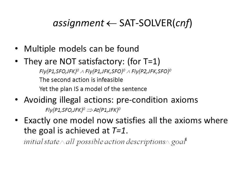 assignment  SAT-SOLVER(cnf) Multiple models can be found They are NOT satisfactory: (for T=1) Fly(P1,SFO,JFK) 0  Fly(P1,JFK,SFO) 0  Fly(P2,JFK,SFO) 0 The second action is infeasible Yet the plan IS a model of the sentence Avoiding illegal actions: pre-condition axioms Fly(P1,SFO,JFK) 0  At(P1,JFK) 0 Exactly one model now satisfies all the axioms where the goal is achieved at T=1.